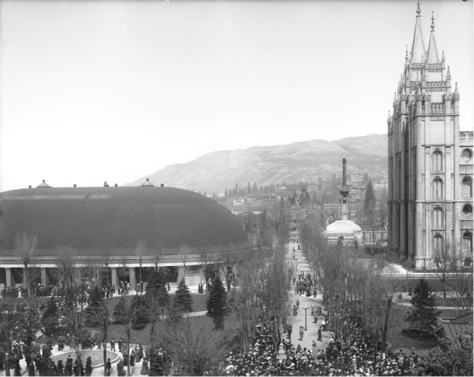 Courtesy  |  Utah State Historical Society  This photo, taken from the Vermont Building, shows a crowd gathering to attend the 1912 LDS Conference on Temple Square.