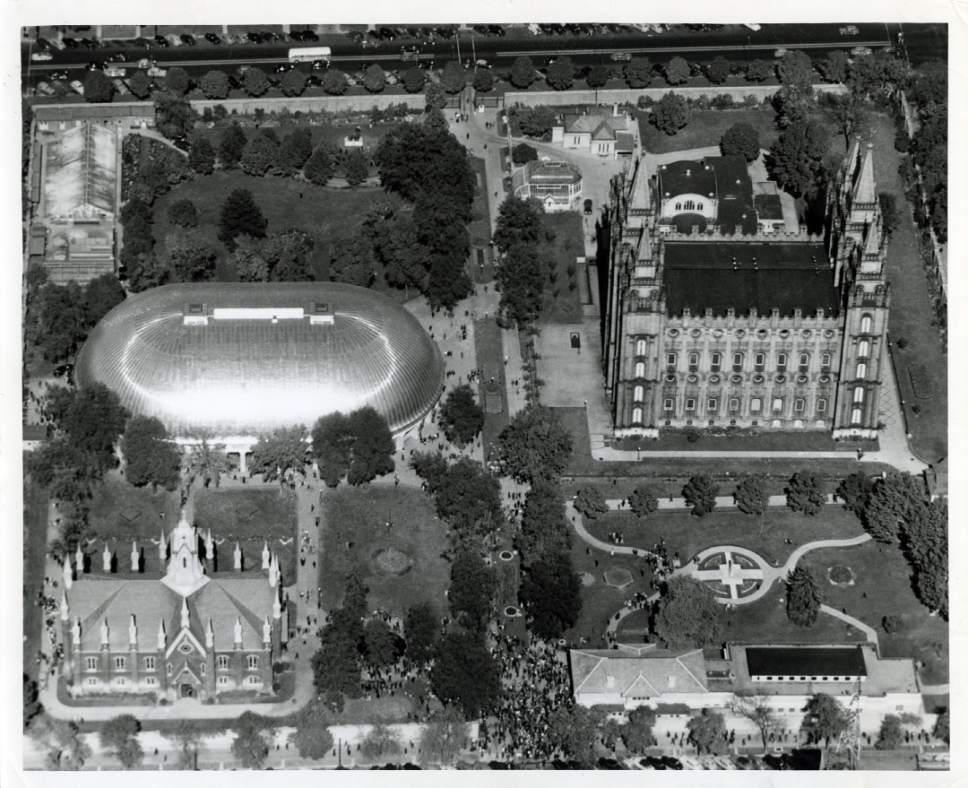 Tribune file photo  An aerial view of Temple Square from 1956.