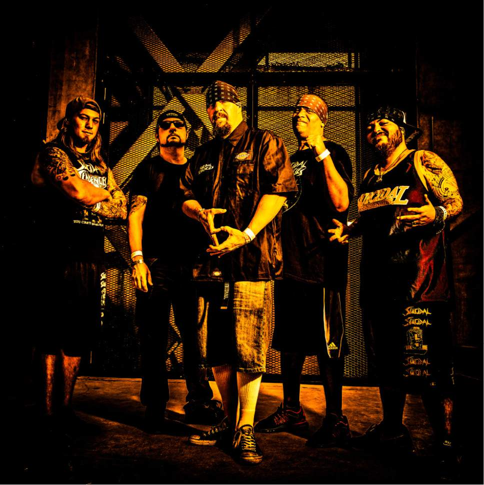 """Courtesy photo  Venice, Calif.-based crossover thrash band Suicidal Tendencies (from left: guitarist Jeff Pogan, drummer Dave Lombardo, singer Mike Muir, guitarist Dean Pleasants and bassist Ra Diaz) wraps up its """"World Gone Mad Tour"""" on Saturday, March 11 at The Complex in Salt Lake City."""