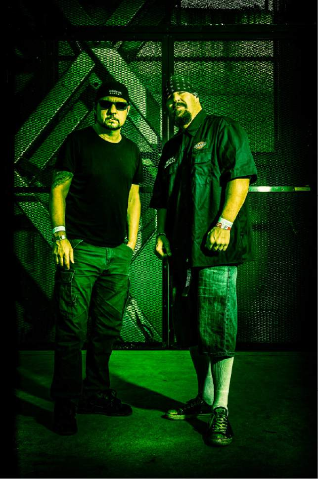 """Courtesy photo  Venice, Calif.-based crossover thrash band Suicidal Tendencies, featuring (from left) drummer Dave Lombardo (formerly of Slayer) and singer Mike Muir, wraps up its """"World Gone Mad Tour"""" on Saturday, March 11 at The Complex in Salt Lake City."""