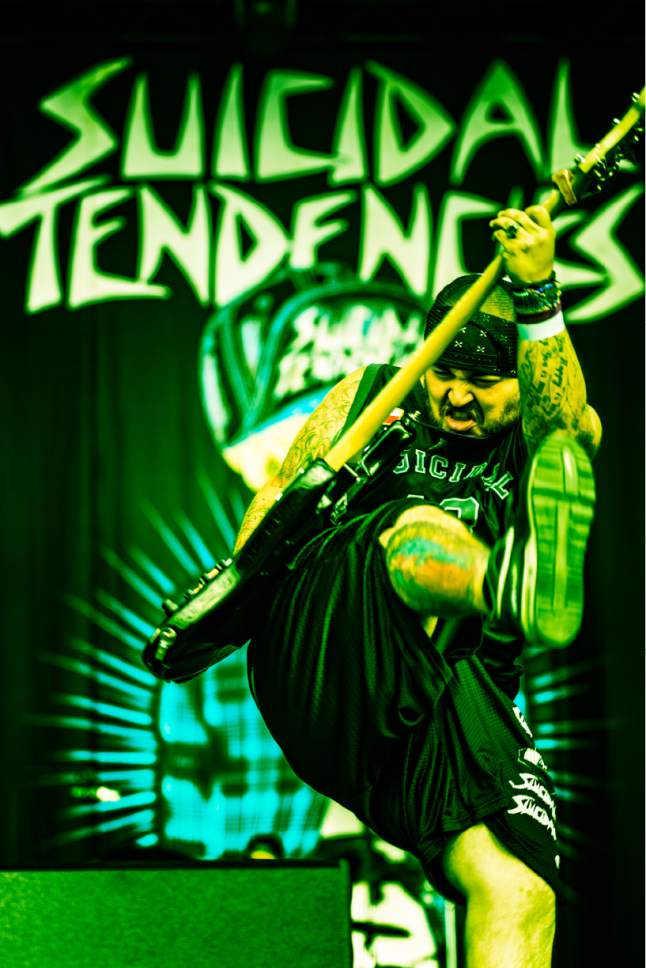 """Courtesy photo  Venice, Calif.-based crossover thrash band Suicidal Tendencies, featuring bassist Ra Diaz, wraps up its """"World Gone Mad Tour"""" on Saturday, March 11 at The Complex in Salt Lake City."""