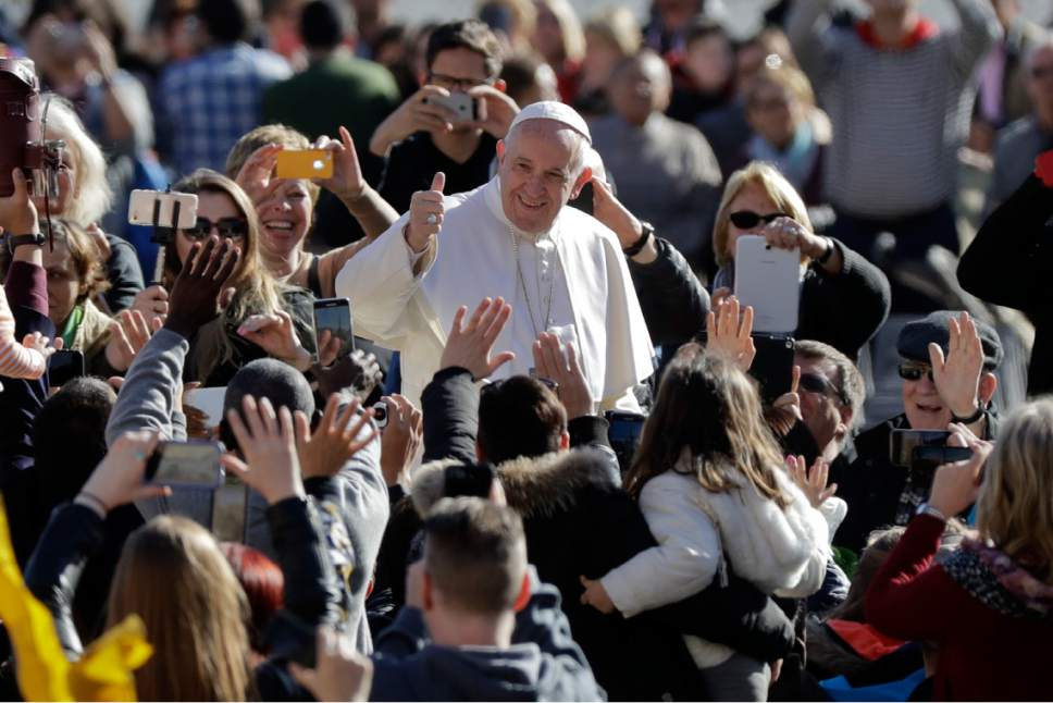 Pope Francis arrives for his weekly general audience in St.Peter's Square, at the Vatican, Wednesday, March 1, 2017. (AP Photo/Andrew Medichini)