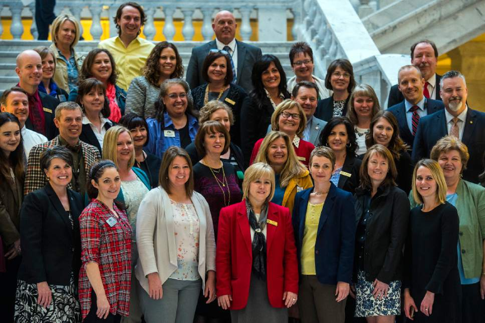 Chris Detrick  |  The Salt Lake Tribune Public Education representatives pose for a group portrait at the Utah State Capitol Thursday March 9, 2017.