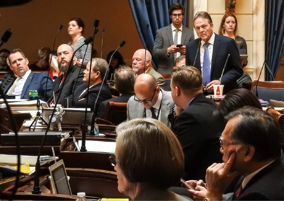 Trent Nelson  |  The Salt Lake Tribune Sen. Jerry Stevenson, R-Layton, listens as the Utah Senate debates, and passes, HB442, an alcohol bill Wednesday March 8, 2017 in Salt Lake City.
