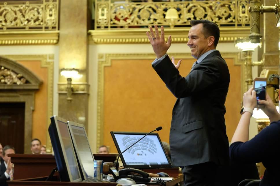 Francisco Kjolseth   The Salt Lake Tribune Speaker of the House Greg Hughes, R-Draper, closes out the legislative session on Thursday night,  March 9, 2017.