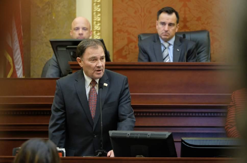Francisco Kjolseth   The Salt Lake Tribune Gov. Gary Herbert addresses the House of Representatives at the conclusion of the legislative session on Thursday night,  March 9, 2017.