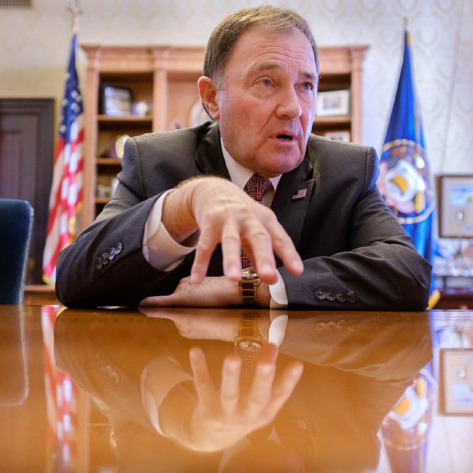 Trent Nelson     The Salt Lake Tribune Utah Governor Gary Herbert in his Salt Lake City office, Thursday March 9, 2017.