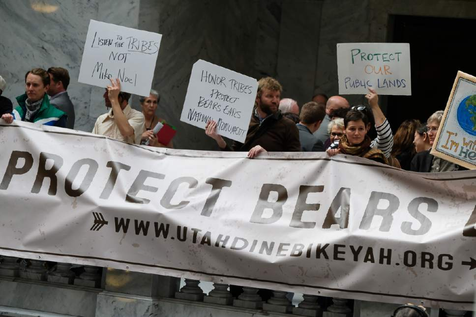 Francisco Kjolseth | The Salt Lake Tribune Supporters of Bears Ears National Monument gather to protest movement by republicans at the Utah Capitol to move HCR11 and HCR12, resolutions asking President Donald Trump to erase the Bears Ears and alter Grand Staircase-Escalante national monuments, directly to the House floor for debate on Tuesday, Jan. 31, 2017.