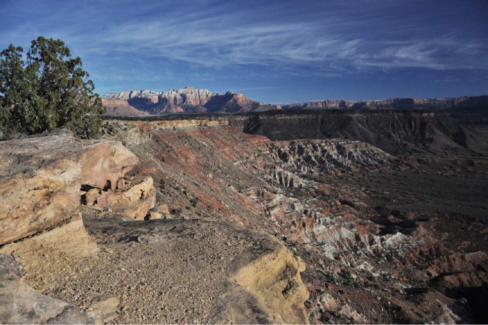 Courtesy of Luke Henry, Southern Utah Wilderness Alliance. BLM proposes oil and gas leases on two parcels along the Kolob Terrace Road overlooking North Creek just west of Zion National Park. These parcels would be only the public lands in Washington County leased for energy development.