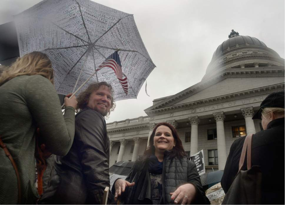 Scott Sommerdorf      The Salt Lake Tribune   Polygamist Kody Brown and his family along with other polygamists and their supporters rally on the south steps of the Capitol building, Friday, Feb. 10, 2017.