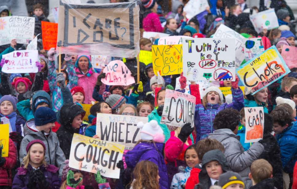 Steve Griffin / The Salt Lake Tribune  Hundreds of Utah students from schools including the Madeleine Choir School, Rowland Hall and Judge Memorial Catholic HighSchool participate in a Clean Air Rally on the front steps of the State Capitol in Salt Lake City Thursday January 26, 2017. This is the third consecutive year students from the Choir School have aired their concerns about the excess smog as several students gave speeches to the group.