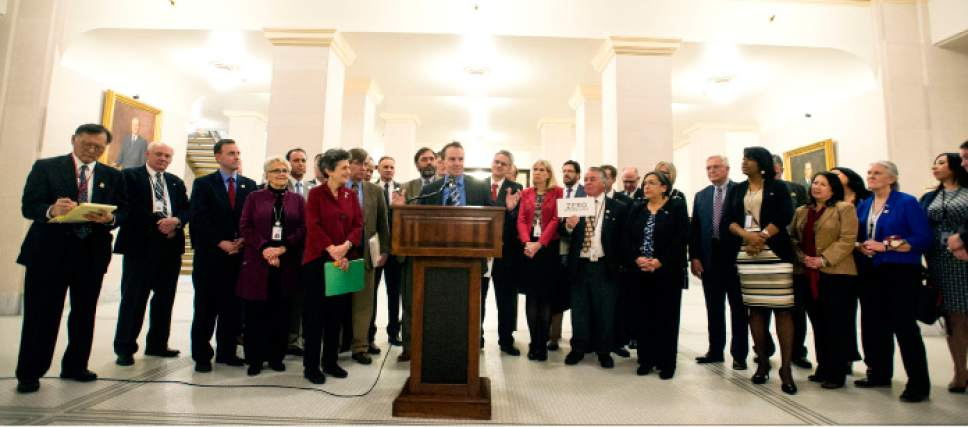 Steve Griffin  |  The Salt Lake Tribune Members of Utah's Clean Air Caucus hold a news conference in the Hall of Governor's at the State Capitol in Salt Lake City on Thursday. Both Democrats and Republicans form the membership of the caucus and all are pushing for new bills to help Utah's air quality.