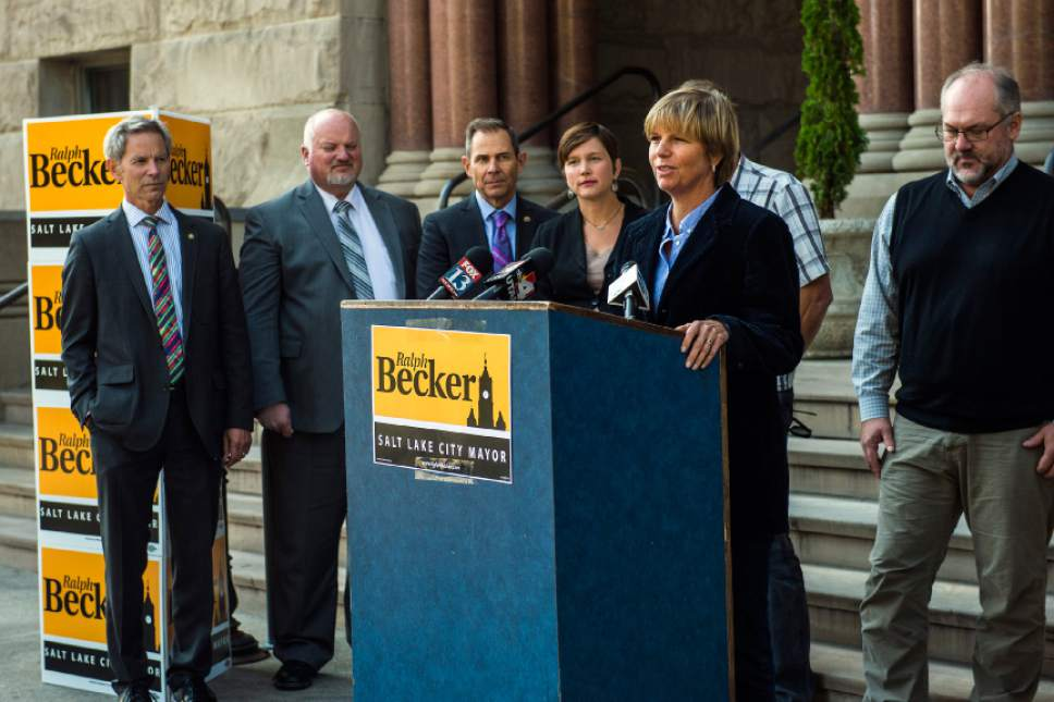 Chris Detrick  |   Tribune file photo Lisa Adams, Salt Lake City Councilwoman endorsed Mayor Ralph Becker for reelection during a press conference outside of the City and County Building Thursday October 22, 2015. Council members Stan Penfold, right, and Erin Mendenhall, left of Adams, also endorsed Becker, along with Councilman James Rogers, not present in the photo.