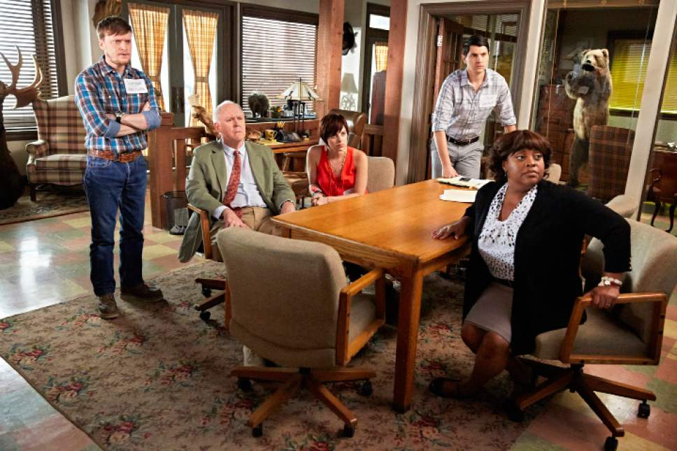"Steven Boyer as Dwayne, John Lithgow as Larry, Krysta Rodriguez as Summer, Nick D'Agosto as Josh, Sherri Shepherd as Anne in ""Trial & Error."" Tyler Golden  |  NBC"