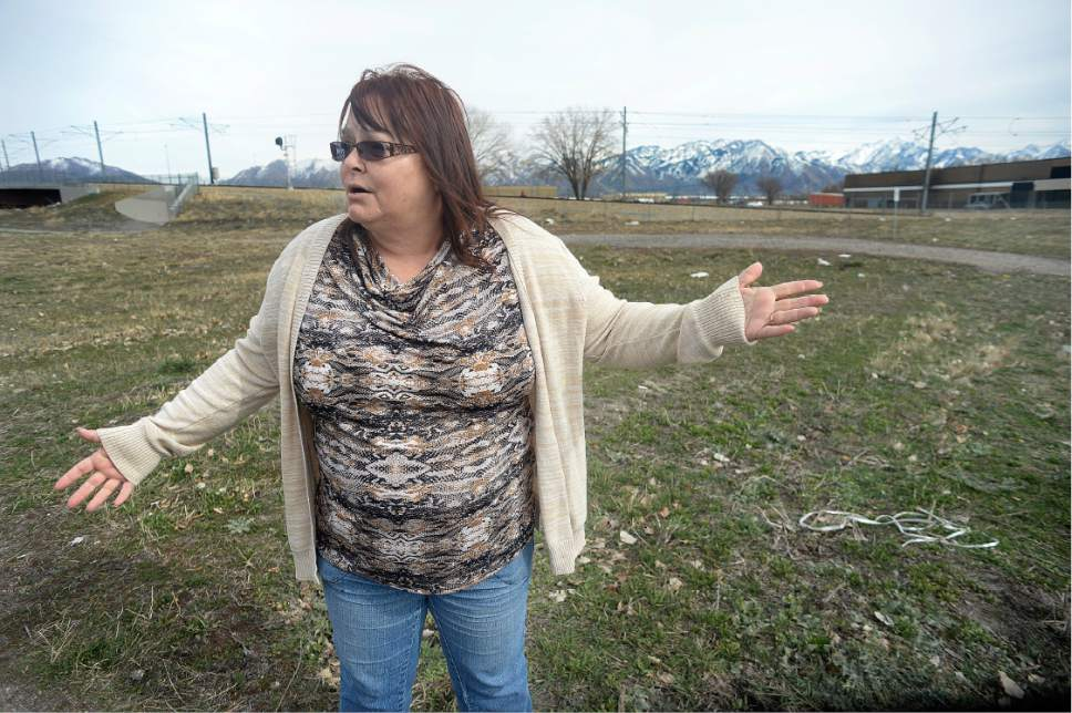 Scott Sommerdorf | The Salt Lake Tribune West Valley City resident Jule Erickson vents her frustration with the choice of the site at 2249 South Winston St. (1070 W), Friday, March 10, 2017. During an interview at the site she explained that she feels strongly about the Chesterfield area since some of it was once owned by her Grandfather in the 1920's.