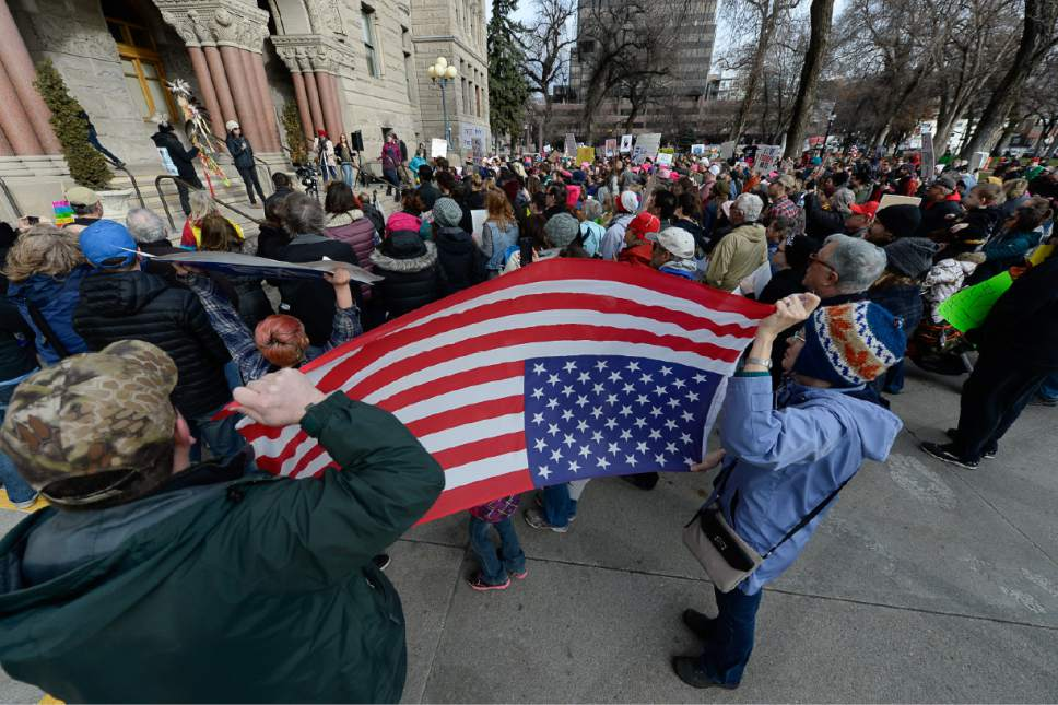 Francisco Kjolseth | The Salt Lake Tribune Protesters gather at Washington Square on President's Day in Salt Lake City, Monday, Feb. 20, 2017, to protest President Donald Trump.