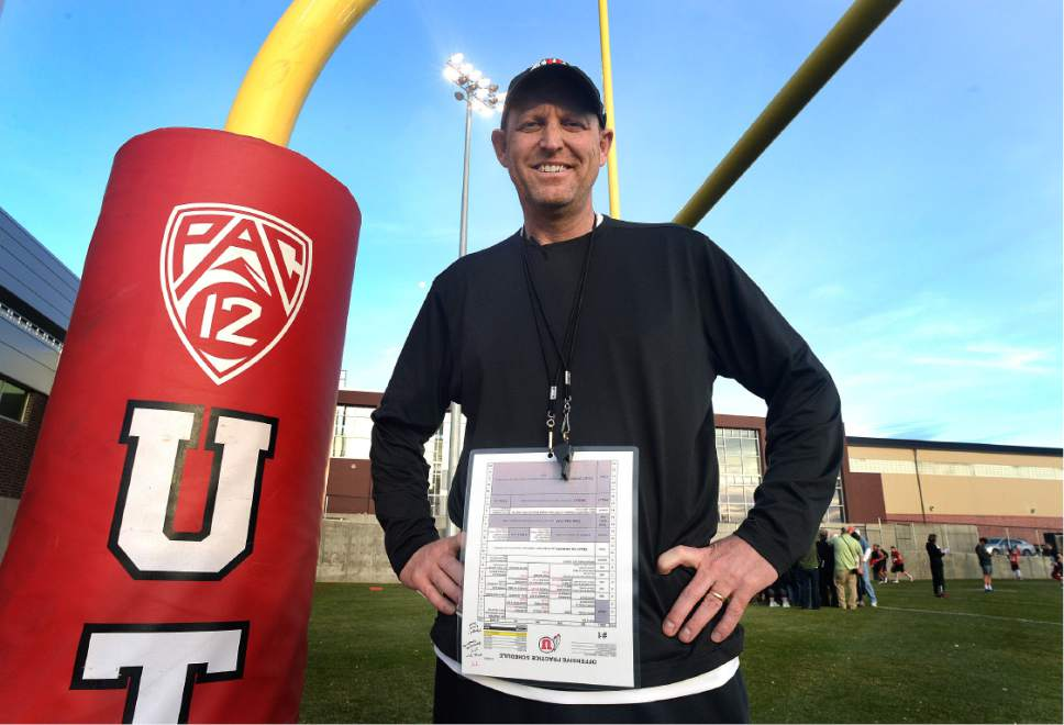 Scott Sommerdorf | The Salt Lake Tribune New offensive coordinator Troy Taylor poses for a portrait after Utah football practice, Thursday, March 9, 2017.