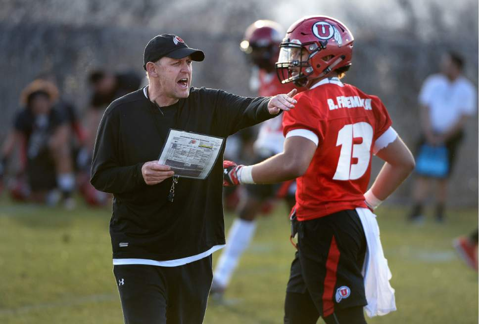 Scott Sommerdorf | The Salt Lake Tribune New offensive coordinator Troy Taylor shouts some instructions during Utah football practice, Thursday, March 9, 2017.