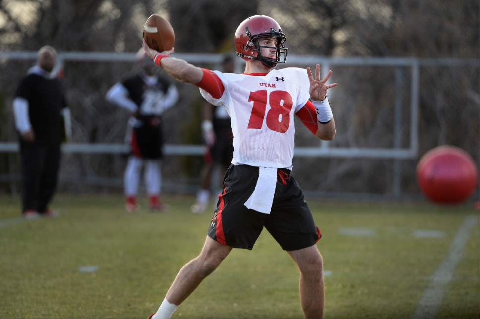 Scott Sommerdorf | The Salt Lake Tribune QB Cooper Bateman during Utah football practice, Thursday, March 9, 2017.