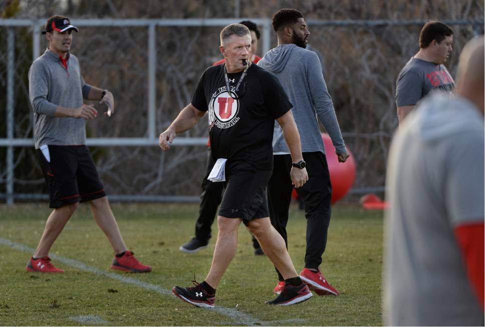 Scott Sommerdorf | The Salt Lake Tribune Head coach Kyle Whittingham watches Utah football practice, Thursday, March 9, 2017.