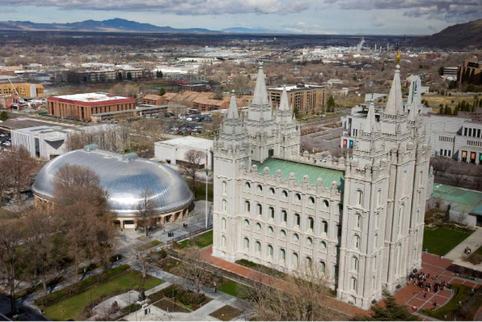 Al Hartmann   |  The Salt Lake Tribune  Temple Square with Tabernacle, and Salt Lake Temple seen from high angle above South Temple and West Temple streets on March 22, 2011