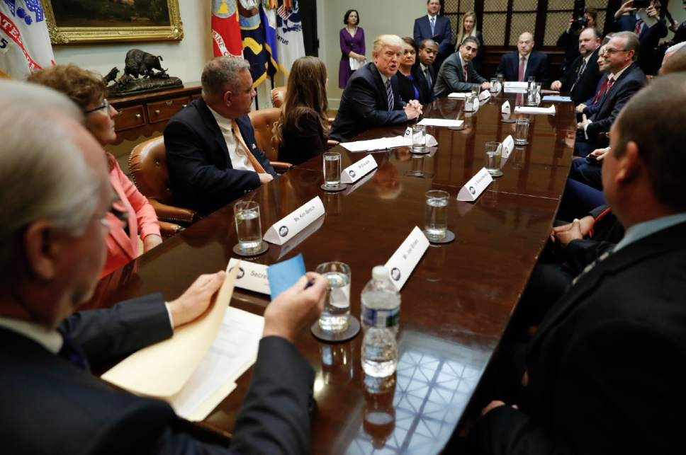 President Donald Trump speaks during the start of a meeting on healthcare in the Roosevelt Room of the White House in Washington, Monday, March 13, 2017. (AP Photo/Pablo Martinez Monsivais)