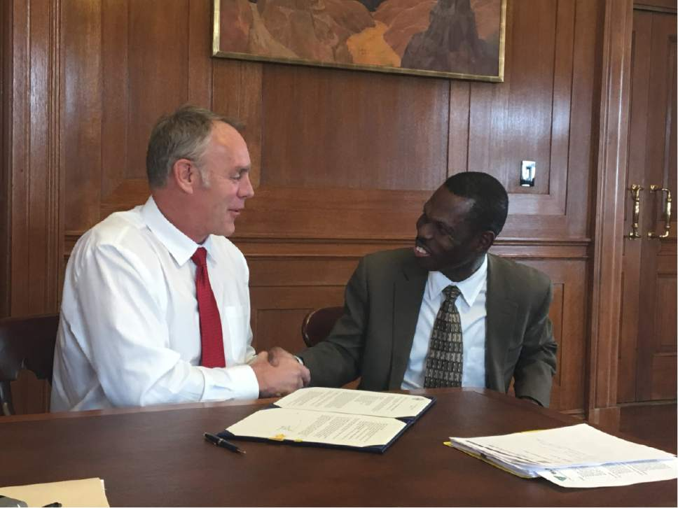 |  Courtesy of Interior Department  Interior Secretary Ryan Zinke with newly named acting BLM Director Michael Nedd.|  Courtesy of Interior Department  Interior Secretary Ryan Zinke with newly named acting BLM Director Michael Nedd.