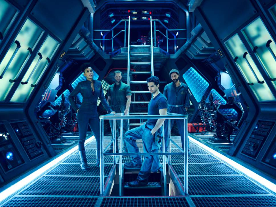 """Dominique Tipper as Naomi Nagata, Wes Chatham as Amos, Steven Strait as Earther James Holden in """"The Expanse."""" Jason Bell     Syfy"""