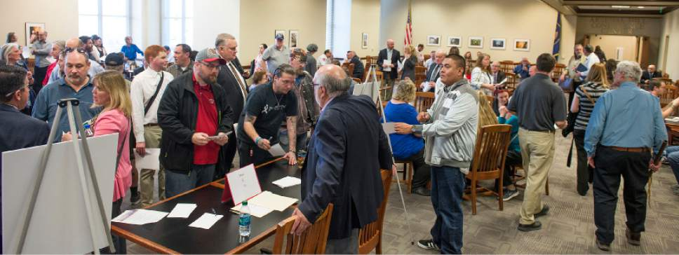 Leah Hogsten  |  The Salt Lake Tribune Hundreds of concerned citizens packed the state Capitol's Senate Building cafeteria Tuesday, March 14, 2017 during one of three  scheduled opportunities for the public to give feedback on possible shelter sites to Salt Lake County Mayor Ben McAdams and county staff.