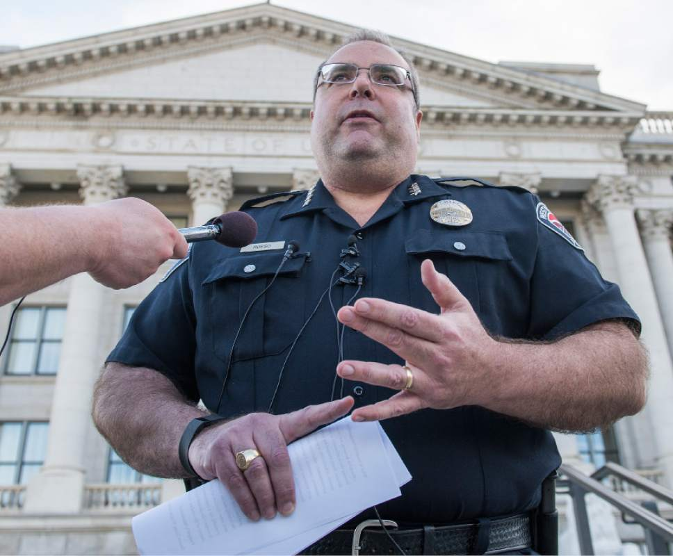 """Leah Hogsten     The Salt Lake Tribune """"It doesn't seem appropriate, it doesn't seen logical,"""" West Valley Police Chief Lee Russo on the proposed shelter sites in West Valley City. Hundreds of concerned citizens packed the state Capitol's Senate Building cafeteria Tuesday, March 14, 2017 during one of three  scheduled opportunities for the public to give feedback on possible shelter sites to Salt Lake County Mayor Ben McAdams and county staff."""