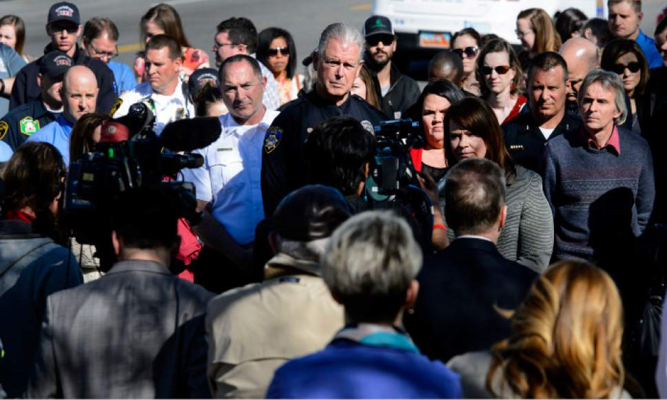 Steve Griffin  |  The Salt Lake Tribune   South Salt Lake Mayor Cherie Wood, center right, is joined by South Salt Lake City Council members as she talks with the media stating that the two homeless shelter site finalists in their borders don't meet the criteria sought by the county and state during a press conference at Woodrow Wilson Elementary South Salt Lake City, Utah Monday March 13, 2017.