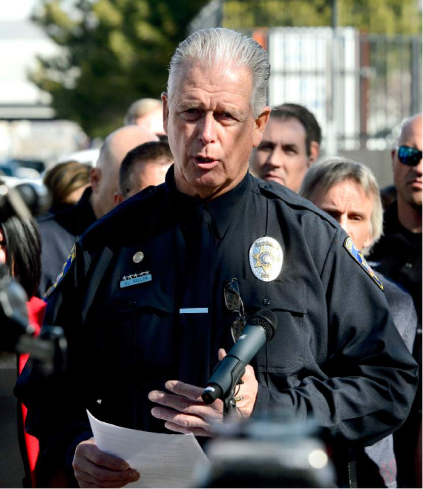 Steve Griffin  |  The Salt Lake Tribune   Gary Keller, South Salt Lake City Police, talks with the media about the two homeless shelter site finalists in their borders, and what it would mean to the South Salt Lake City Police department during a press conference at Woodrow Wilson Elementary South Salt Lake City, Utah Monday March 13, 2017.