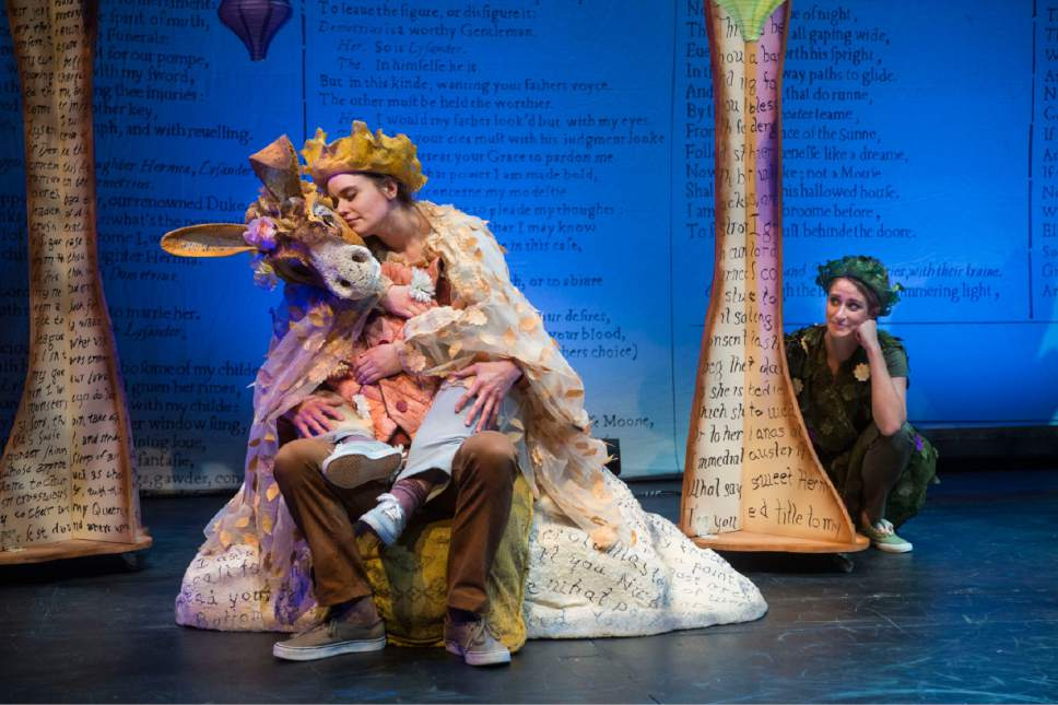 "Alexis Baigue (left) as Bottom, Marla Lefler as Titania, and Madison Kisst as Puck in the Utah Shakespeare Festival's 2017 Shakespeare-in-the-Schools production of ""A Midsummer Night's Dream."" The tour is supported by grant funds from the National Endowment for the Arts. Courtesy  