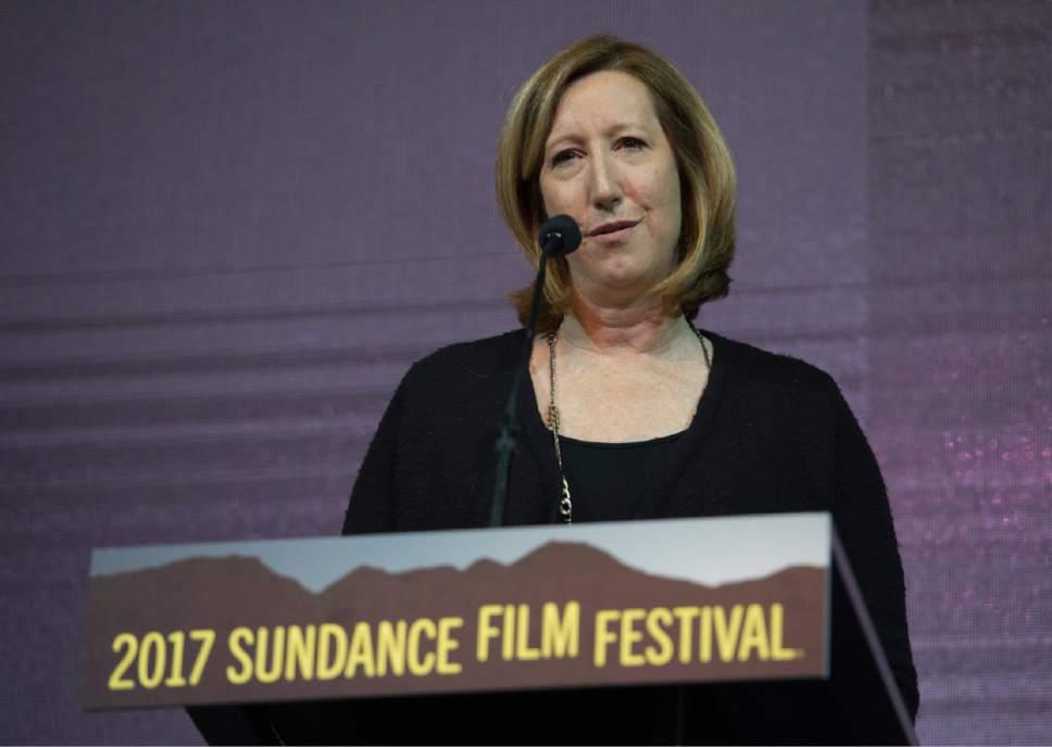 Rick Egan  |  The Salt Lake Tribune   Sundance Institute Executive Director Keri Putnam address the crowd at the 2017 Sundance Film Festival's Awards Ceremony, Saturday, Jan. 28, 2017.