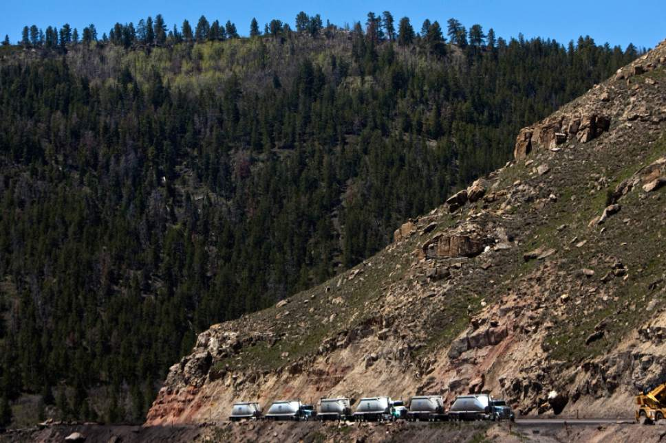 Photo by Chris Detrick | The Salt Lake Tribune  Trucks line up to receive coal at Sufco Mine in Emery Friday June 3, 2011.  Coal has been mined continuously from the SUFCO mine since 1941.