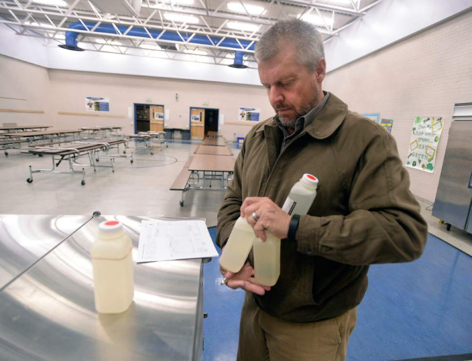 Al Hartmann  |   Tribune file photo Kevin Ray, risk management coordinator for Canyon School District gathers up four water samples and paperwork to be sent to a lab from early morning water samples taken from the Edgemont Elementary school's cafeteria and drinking fountains Wed. March 30, 2016.  The most common cause of lead poisoning is old corroded pipes that are basically rusting metals into the water. Lead pipes are now banned in the US, but at least 58 percent of Utah's schools were built before that law went into effect. In 1988, congress passed a law charging schools with identifying and rectifying lead contamination and pipe corrosion, but according to the EPA this law is essential impossible to enforce and is not widely implemented.