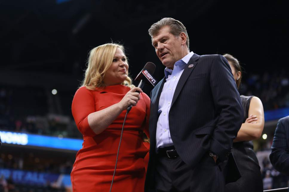 Allen Kee  |  ESPN Images Holly Rowe interviews UConn women's basketball coach Geno Auriemma after the 2016 national championship game in Indianapolis.