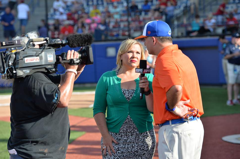 Scott Clarke  |  ESPN Images Holly Rowe conducts an interview during the 2014 Women's College World Series in Oklahoma City.