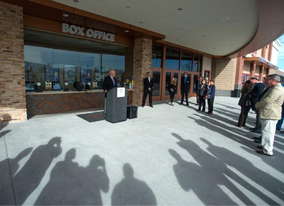 Rick Egan  |  The Salt Lake Tribune  William J Stone, with S Squared Development, speaks at the grand opening of the Regal Crossroads 14 on Thursday, March 16, 2017.