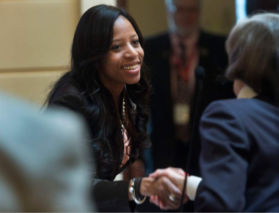 Steve Griffin  |  The Salt Lake Tribune   Rep. Mia Love shakes hands with members of the Senate as she visits the Utah Senate at the State Capitol in Salt Lake City Thursday February 23, 2017