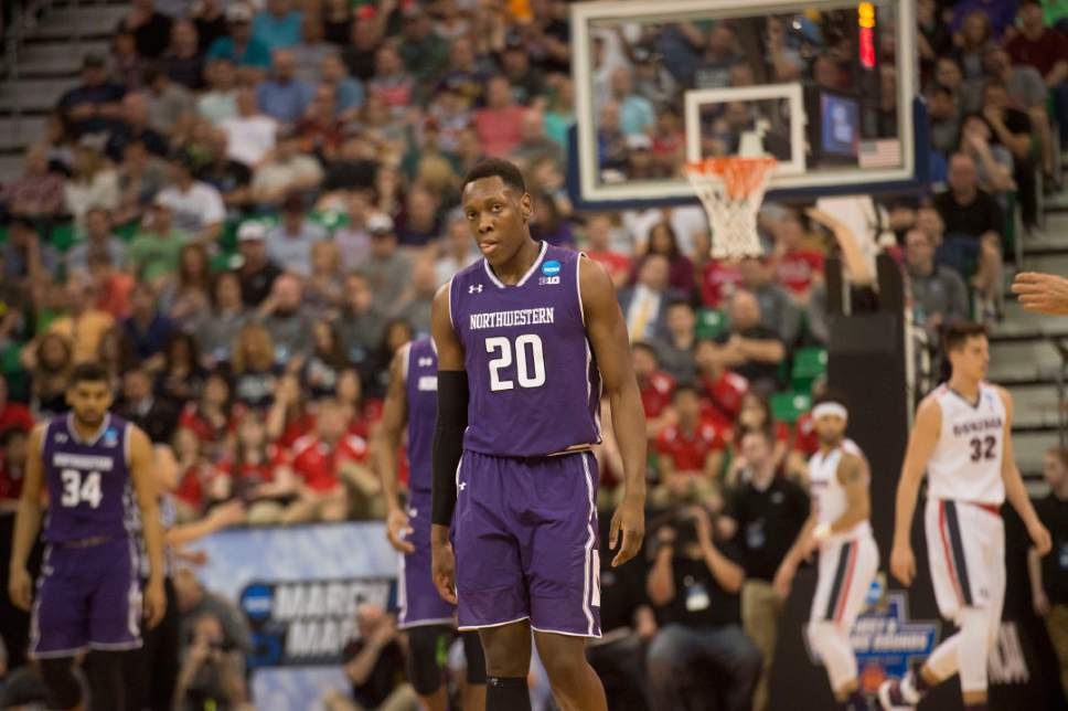 Chris Detrick  |  The Salt Lake Tribune  Northwestern Wildcats guard Scottie Lindsey (20) walks along the court as they face Gonzaga in the NCAA tournament in Salt Lake City on Saturday, March 18, 2017.