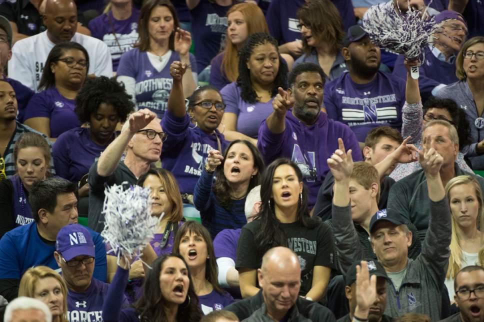 Chris Detrick  |  The Salt Lake Tribune  Actor Julia Louis-Dreyfus cheers as Northwestern faces Gonzaga in Salt Lake City on Saturday, March 18, 2017.