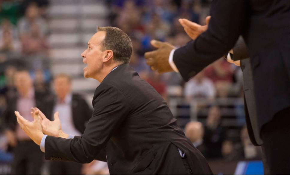 Chris Detrick  |  The Salt Lake Tribune  Northwestern coach Chris Collins yells during their game agaist Gonzaga in the NCAA tournament in Salt Lake City on Saturday, March 18, 2017.