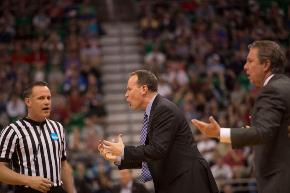 Chris Detrick  |  The Salt Lake Tribune  Northwestern coach Chris Collins yells at a referee during their game against Gonzaga in the NCAA tournament in Salt Lake City on Saturday, March 18, 2017.