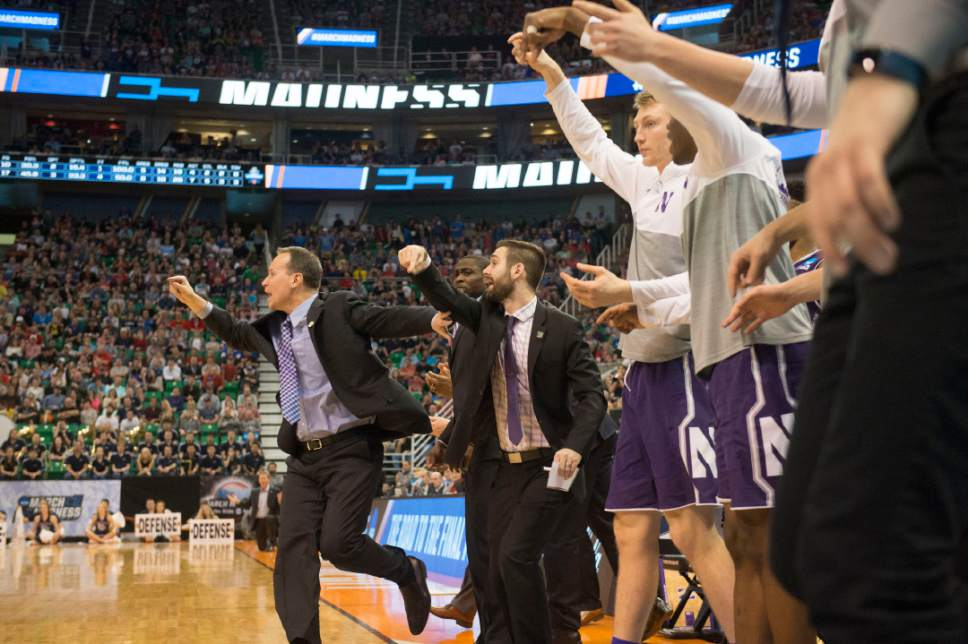 Chris Detrick  |  The Salt Lake Tribune  Northwestern coach Chris Collins and the rest of the bench react to a play during the game against Gonzaga in the NCAA tournament in Salt Lake City on Saturday, March 18, 2017.