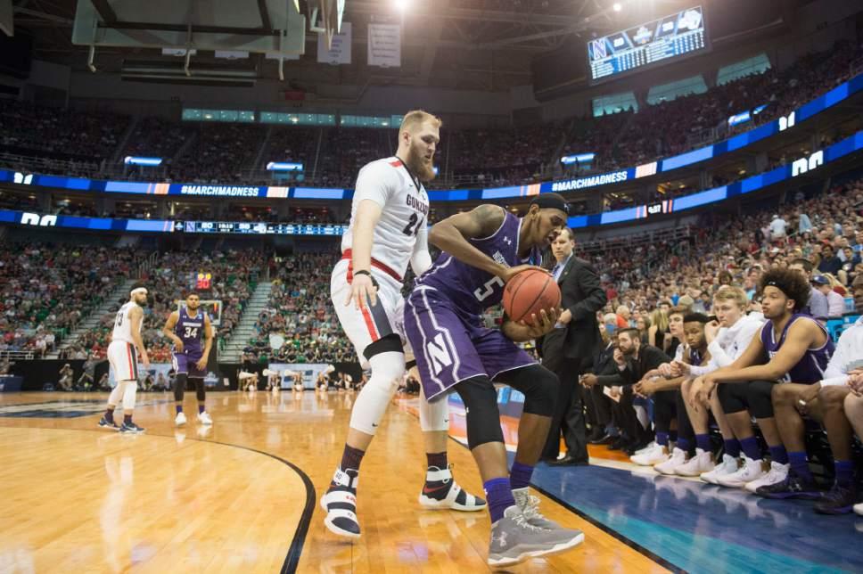 Chris Detrick  |  The Salt Lake Tribune  Gonzaga Bulldogs center Przemek Karnowski (24) guards Northwestern Wildcats center Dererk Pardon (5) as the teams face off in the NCAA tournament in Salt Lake City on Saturday, March 18, 2017.