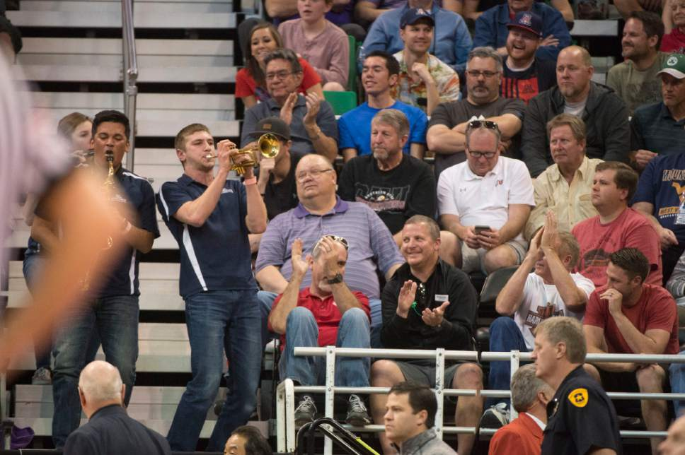 Chris Detrick  |  The Salt Lake Tribune  Members of the Gonzaga band play in the stands as their team faces Northwestern in the NCAA tournament in Salt Lake City on Saturday, March 18, 2017.