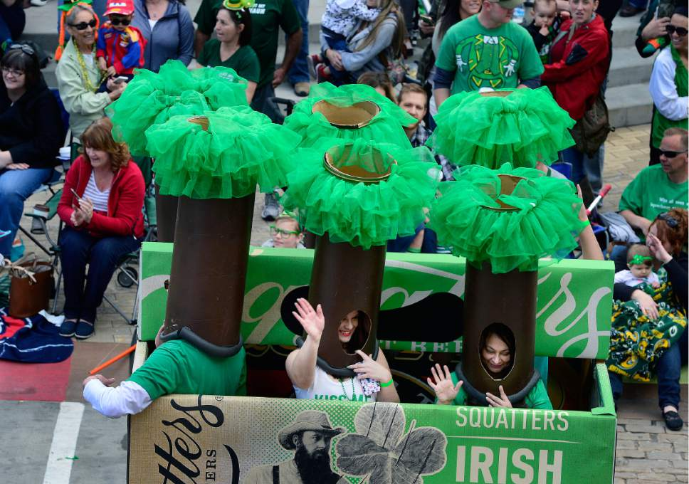 Scott Sommerdorf   |  The Salt Lake Tribune   Six women dressed as beers in a six-pack took part in the 40th annual St. Patrick's Day parade organized by the Hibernian Society of Utah, Saturday, March 12, 2016.