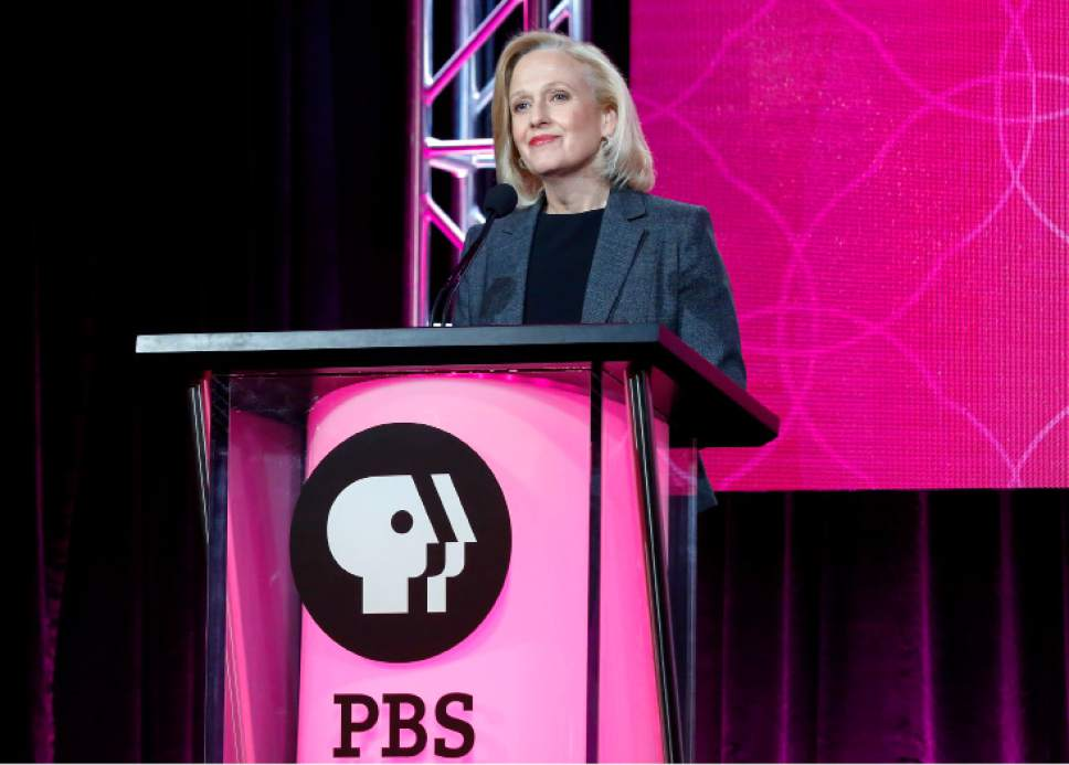 "FILE - In this Jan. 15, 2017 file photo, President and CEO Paula Kerger speaks at the PBS's Executive Session at the 2017 Television Critics Association press tour in Pasadena, Calif. President Donald Trump's 2018 budget proposal plans to kill funding for the Corporation for Public Broadcasting (CPB). ""We're celebrating the 50th anniversary of the Public Broadcasting Act, what I think has been the most successful public-private partnership _ how ironic it would be if we were defunded this year,"" said Kerger, (Photo by Willy Sanjuan/Invision/AP, File)"