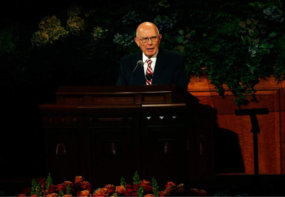 Scott Sommerdorf   |  The Salt Lake Tribune Elder Dallin H. Oaks speaks at the 183rd Semiannual LDS General Conference, Sunday, October 6, 2013.